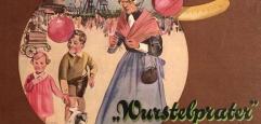 Eine alte Dame hält Luftballons in der Hand und steht neben zwei Kindern und einem Hund, im Hintergrund ist das Wiener Riesenrad zu sehen