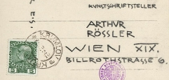 Mit Bleistift adressierte Ansichtskarte an Arthur Roessler