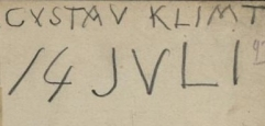 beschriebenes Notizblatt von Gustav Klimt