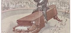Karikatur von Alfred Grünfeld, wie er auf einem Klavierflügel reitet