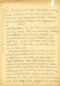 gebräuntes Papier, Text mit Bleistift geschrieben, mit Streichungen und seitlichen Anmerkungen