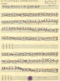 Notenhandschrift mit zehn Zeilen, Noten sind durch bunte Linien verbunden. Oben handschriftlicher Vermerk in Kurrent.