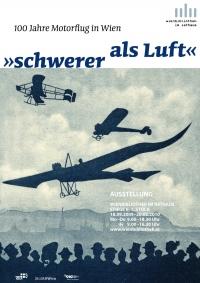 Plakat: in der Mitte Farbgraphik von Flugzeugen