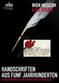 Plakat: schwarzer Untergrund, weiße Feder, handschriftlicher Brief, rotes Siegel; weiße und rote Schrift