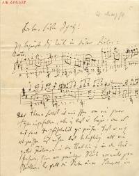 handschriftlicher Text durchsetzt mit Notenzeilen