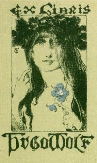 Ex libris unter Verwendung einer Graphik einer Frau mit Blumenkranz und einer Blume in der Hand