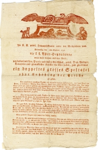 Einblattdruck: oben Zeichnung mit ruhenden Löwen und Adlern, unten Text