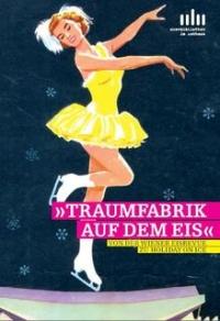 Ausstellungssujet: Farbzeichnung mit Eistänzerin in gelbem Kleid auf stilisierter Stadthalle, dahinter Sterne
