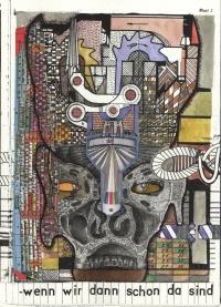 """aus verschiedenfarbigen Flächen zusammengestellter Schädel, in dem Zahnräder arbeiten, unten Schrift """"wenn wir dann schon da sind"""""""