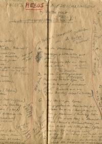 Manuskriptseite, mit schwarzem Stift und rotem Buntstift