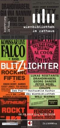 bunte Collage aus unterschiedlichen Flyern. Logo der Wienbibliothek und Blitzlichter darüber geschrieben
