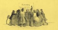 Illustration einer Traube von Leuten, die sich um ein angeschlagenes Kundmachungsblatt scharen