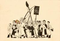schwarz-weiß Karikatur