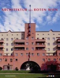Buchcover: Farbphotographie eines Wiener Gemeindebaus mit roter und beiger Fassade, Balkonen, großem Torbogen
