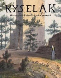 Buchcover: Farbzeichnung: Wanderer im Wald vor Ruine mit Turm