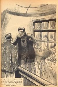 Zeichnung: zwei Männer vor einem Regal, in dem Gehirne stehen
