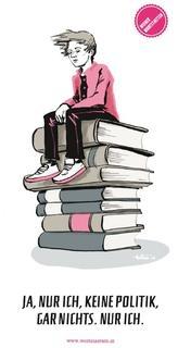 Junge Person sitzt auf Bücherstapel