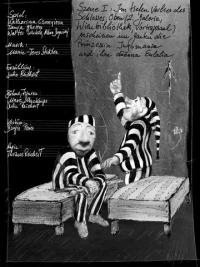 schwarz-weiß-Zeichnung: zwei Puppen in Sträflingskleidung, Handschrift