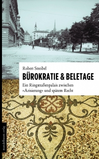 Buchcover: oben schwarz-weiß-Photographie eines Wiener Straßenzugs, unten Farb-Photographie eines Mosaikbodens