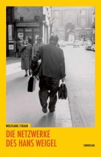 Buchcover: Schwarzweißphotographie auf gelbem Untergrund: Mann mit Taschen von hinten