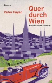 Gemaltes Buchcover, das einen roten Oldtimer vor der Skyline Wiens zeigt
