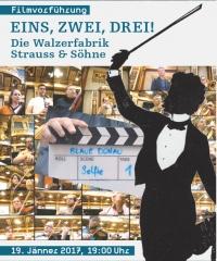 Kollage aus Filmklappe, Strauss-Scherenschnitt, Filmstills