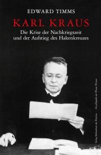 Buchcover mit weißer und roter Schrift auf schwarzem Hintergrund. Porträt von Karl Kraus mit einem weißen Blatt in der Hand.