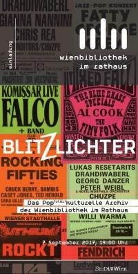 bunte Collage aus unterschiedlichen Flyern. Logo der Wienbibliothek und Blitzlichter sowie Einladung in weißer Schrift darüber geschrieben