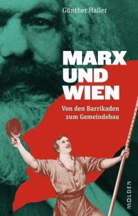 Fotografie von Karl Marx mit der Illustration eines arbeitenden Kämpfers mit roter Fahne im Vordergrund