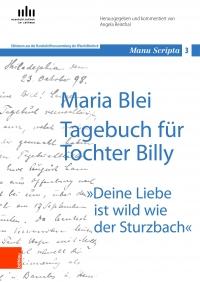 eine von Hand geschriebene Seite, darüber in blauer Farbe der Buchtitel