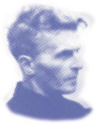 einzelne, kleine Punkte, die ein Portrait von Ludwig Wittgenstein formen