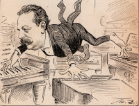 gezeichnete Karikatur von Alfred Grünfeld, der mit Händen und Füßen vier Klaviere gleichzeitig spielt