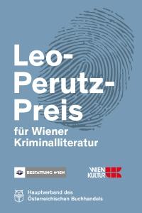 das Logo des Leo-Perutz-Preises zeigt einen schwarzen Fingerabdruck auf blauem Hintergrund