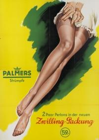 farbiges, gezeichnetes Plakat, das zwei Frauenbeine in Strümpfen zeigt