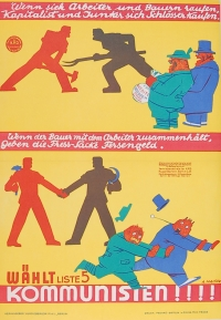 bildliche Darstellung, wie zwei Personen gegeneinander kämpfen und anschließend sich brüderlich die Hand reichen