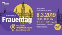 stilisiertes Rathaus mit violeten und gelben Kreisen umringt