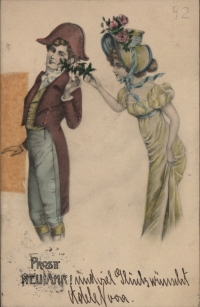 farblich illustrierte Karte, in der eine Frau einem Mann eine Blume überreicht