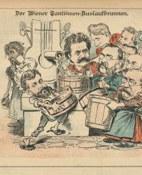 Karikatur mehrerere Komponisten an einem Brunnen