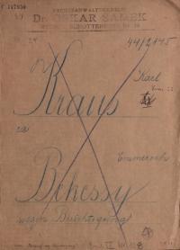 """Akte von Dr. Oskar Samek, die mit """"Karl Kraus Bekessy wegen Berichtigung"""" beschrieben, aber durchgestrichen ist"""