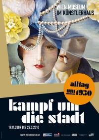 Plakat: oben Farbzeichnung: Frau mit kleinem Hut, dahinter Mann mit Zigarette im Mund, unten weiße Schrift auf schwarzem Untergrund